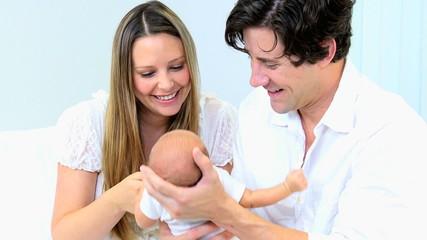 Caucasian Couple Newborn Baby