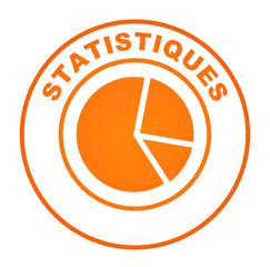 statistiques camembert sur bouton web rond orange