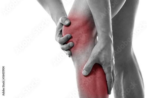 Poster Mann mit Schmerzen in der Wade und im Knie