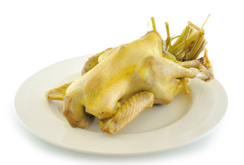 boiled chicken on a white plate