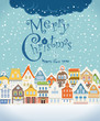 Christmas greating card. Vintage buildings with snowfall on Wint