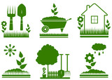 set green isolated garden landscaping symbols