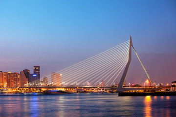 Erasmus Bridge in Rotterdam at Twilight