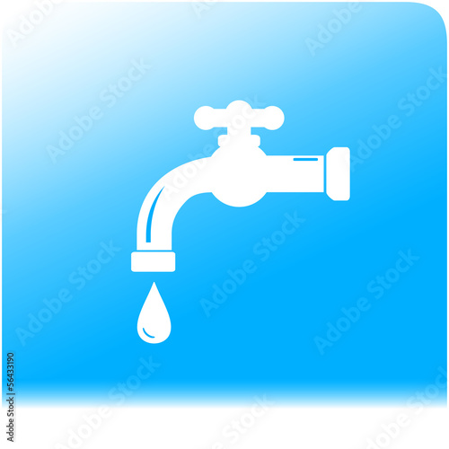 tap spigot on light and purity water background