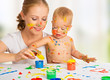 mother and baby paint colors hands dirty