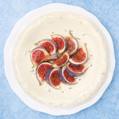 cheesecake with lavender honey and figs, top view