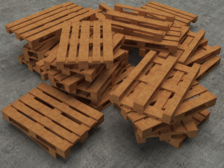 Stack of  three wooden pallets on concrete background