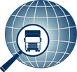 isolated transport symbol with truck, magnifier and planet icon