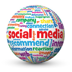 """SOCIAL MEDIA"" Tag Cloud Globe (networking information society)"