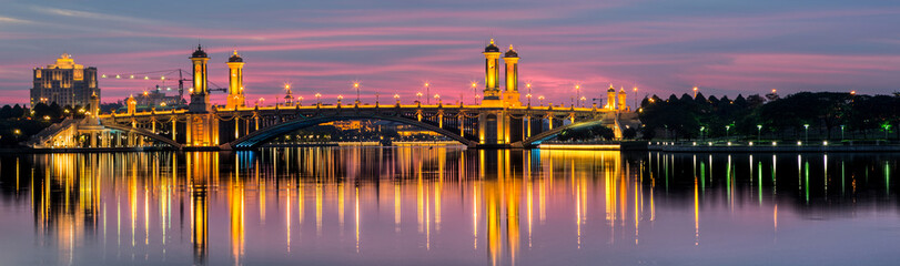 Putrajaya lake bridge at sunset