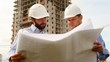 construction engineers at construction site, handshaking 2 shot