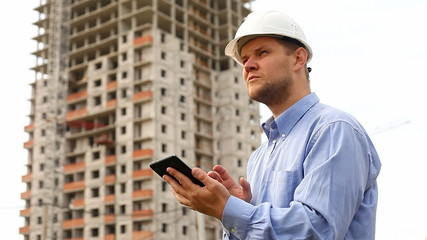 construction engineer with the tablet