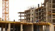 time-lapse, the construction of a multistory apartment building