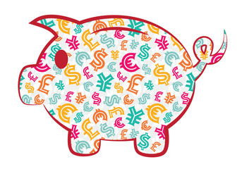 Colorful Piggy Bank with currency signs