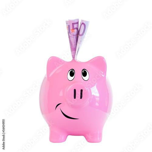 500 Euroscheine im Sparschwein