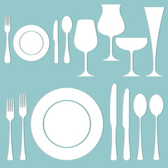 Vector set of formal dinner on the table