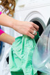 Female student in a laundry