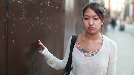 Asian woman walking depressed sad sorrow