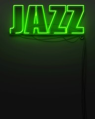 Neon glowing sign with word Jazz, copyspace