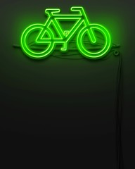 Neon glowing signboard with bike sign, copyspace