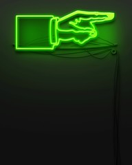 Neon glowing signboard with pointing hand, copyspace