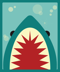 Shark poster, vector illustration