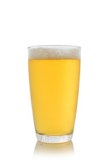 glass with beer on white background