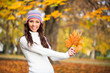 Young woman enjoying in autumn