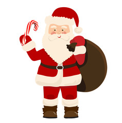 Cartoon Santa Claus with a bag of gifts and candy