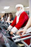 Santa workout  on a treadmill