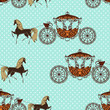 seamless texture with horses with carriage