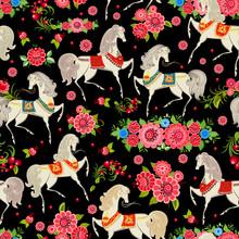 texture homogène avec des chevaux dans les fleurs