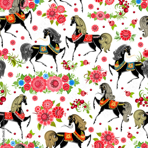 Poster seamless texture with horses in flowers