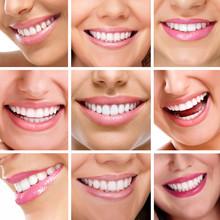 dents collage de personnes sourires