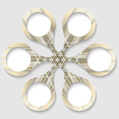 golden abstract circular object with white boxes