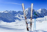 Ski, winter sport  - ski run in Italian Alps
