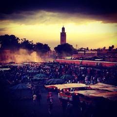 Woman overlooking Marrakech Souk