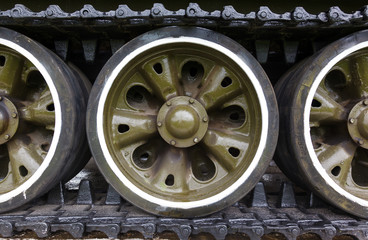 track and wheels of the  tank