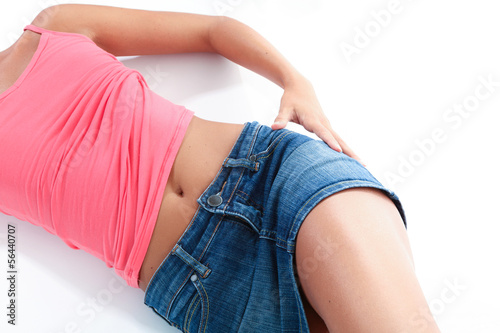 body part of young woman, white background