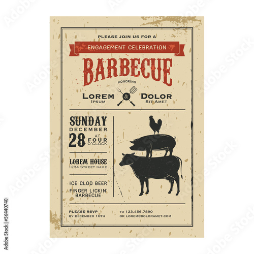 Vintage barbecue invitation card on old grunge paper