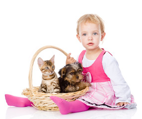 little girl with a cat and a dog sitting in a basket. isolated