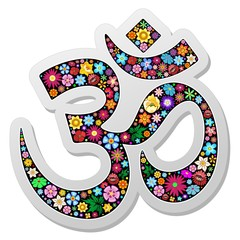 Om Ohm Aum Namaste Yoga Symbol Floral Sticker