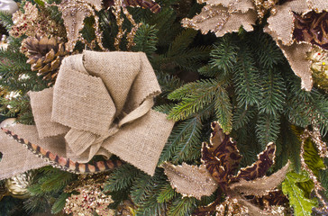 Christmas Pine and Burlap for Wallpaper or Background