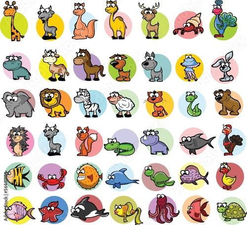 Leinwandbild Motiv Набор мультфильм животных вектор