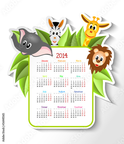 calendar 2014 with animals