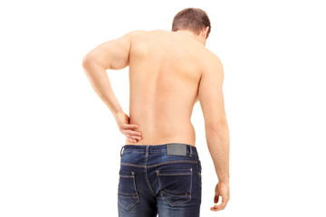 Man shot from behind suffering a back pain