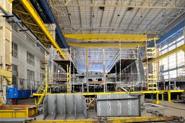 Ship building, shoot inside of shipyard
