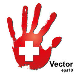 Vector conceptual red painted hand and cross