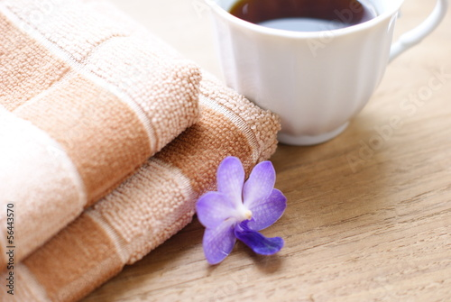 brown towels and orchid