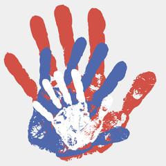векторные отпечатки взрослых и детских рук